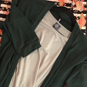 Sage Green Swing Dress and 3/4 Sleeve Cardigan